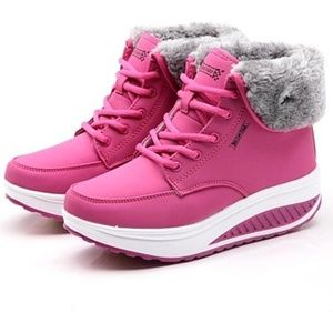 Shoes - Velvet Swing Shoes Platform Ankle Boots - Pink
